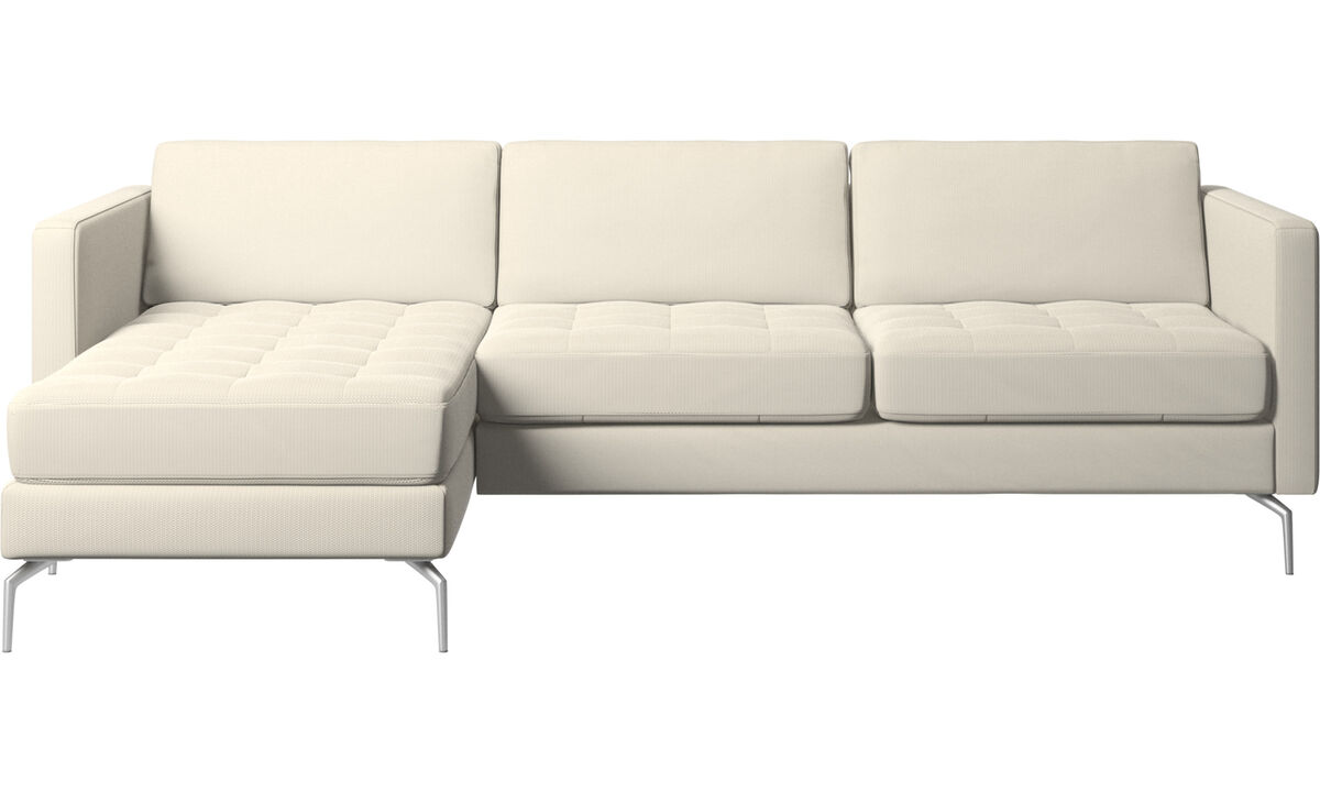 New designs - Osaka sofa with resting unit, tufted seat - White - Fabric
