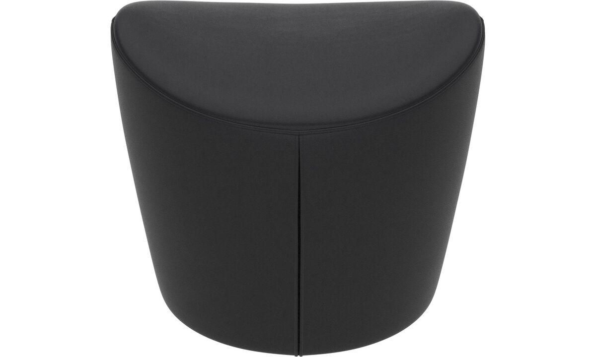 软垫凳 - Rico 脚凳 - 黑色 - 革
