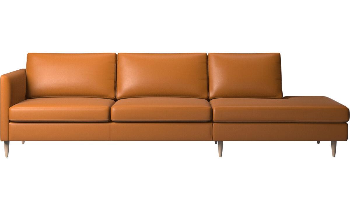 Banken met lounge element - Indivi zitbank met relaxelement - Bruin - Leder