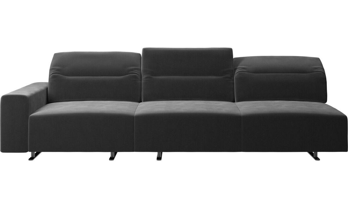 3 θέσιοι καναπέδες - Καναπές Hampton με ρυθμιζόμενη πλάτη - Μαύρο - Ύφασμα