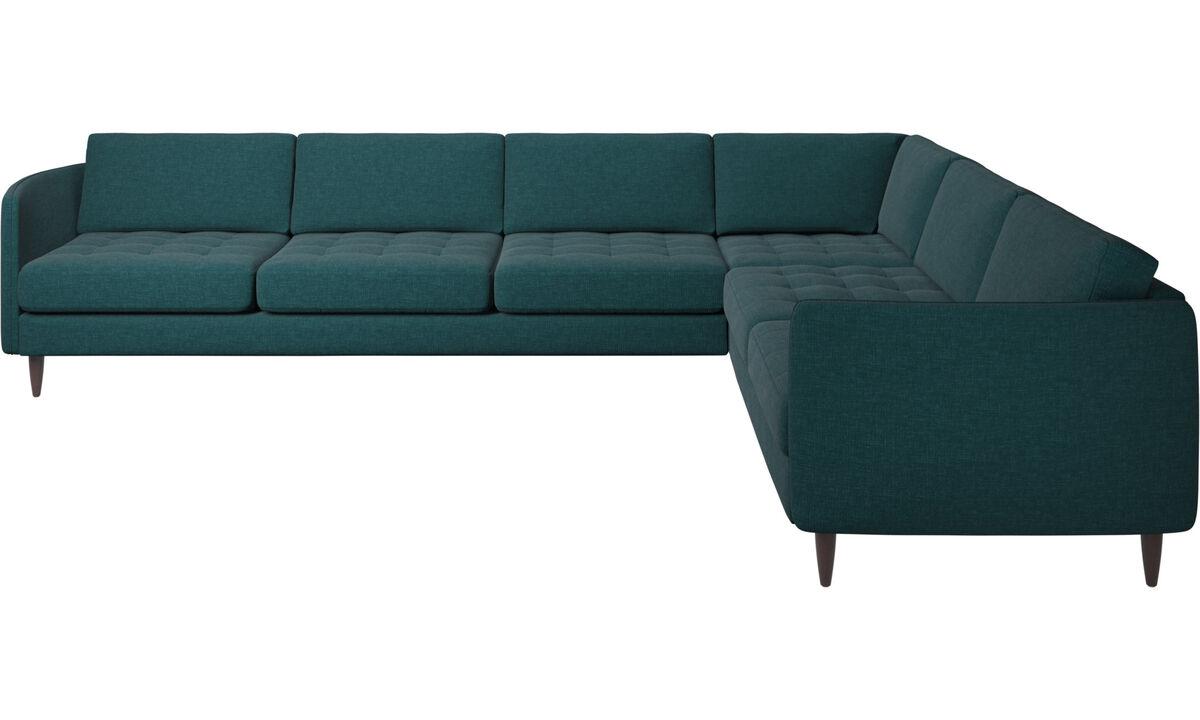 Sofás esquineros - sofá esquinero Osaka, asiento en capitoné - En azul - Tela