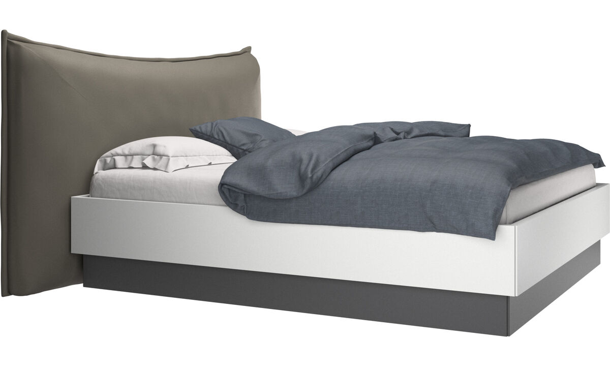 Beds - Gent storage bed with lift-up frame and slats, excl. mattress - Grey - Leather