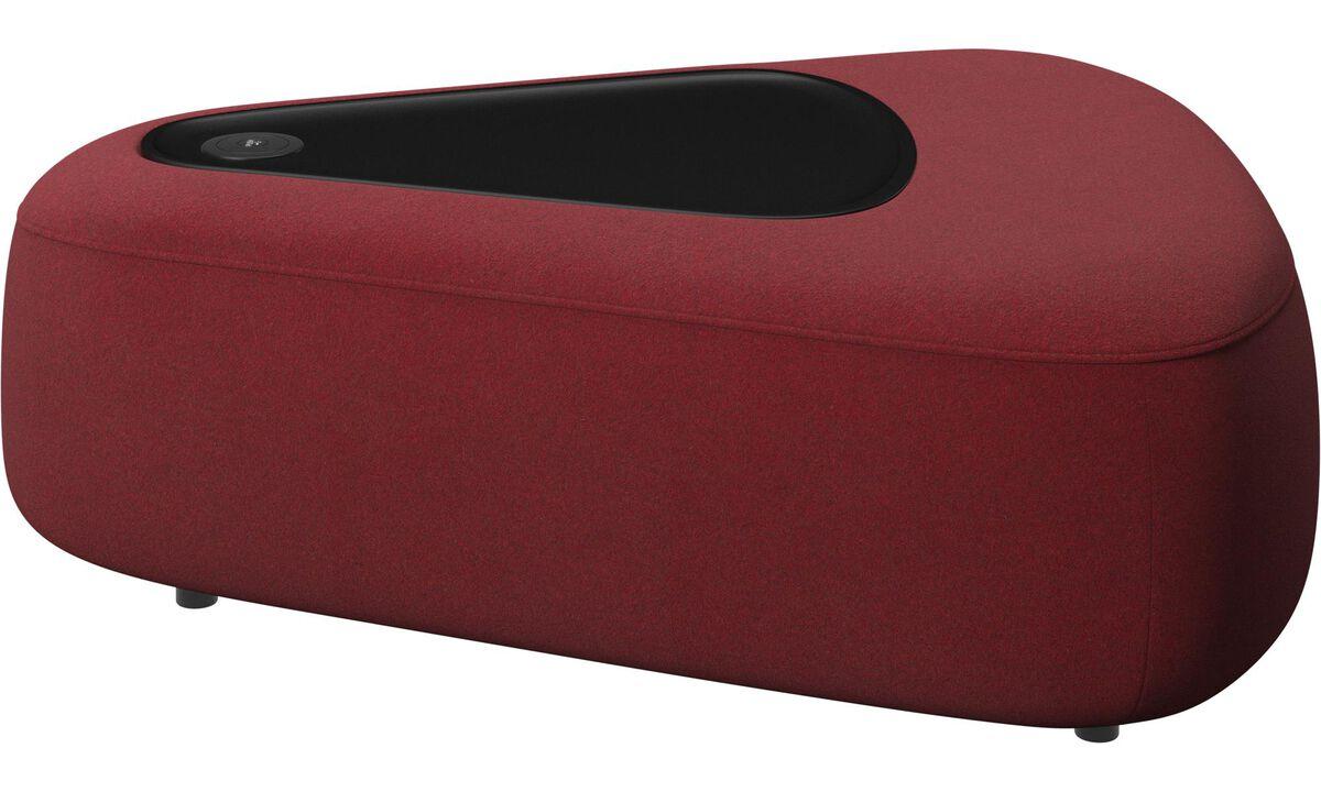 Modulære sofaer - Ottawa trekantet puf med bakke og USB oplader - Rød - Stof