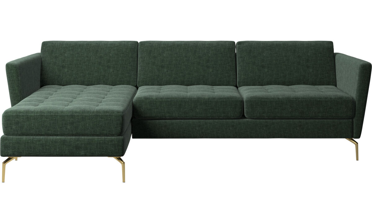 Chaise longue sofas - Osaka sofa with resting unit, tufted seat - Green - Fabric