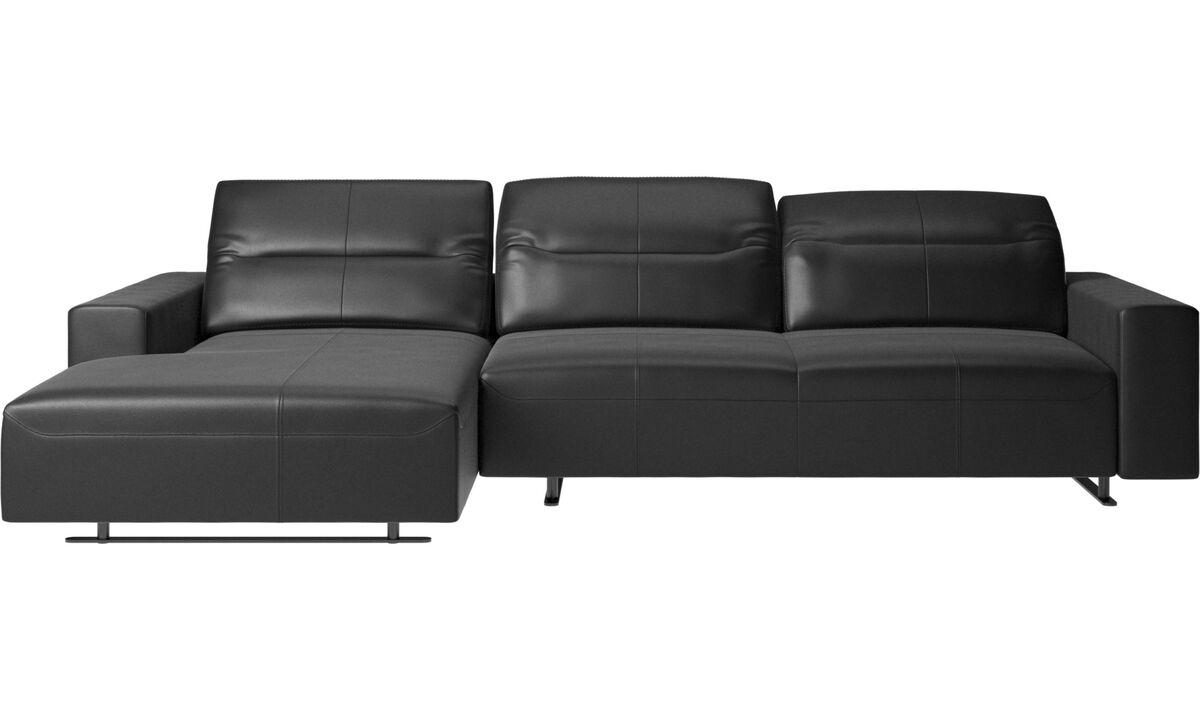 Sofás con chaise longue - Sofá Hampton con respaldo ajustable, módulo de descanso y almacenamiento en ambos lados - En negro - Piel