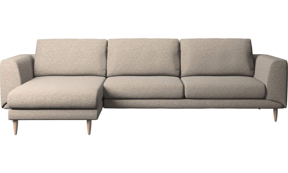 Sofás com chaise - Sofá Fargo chaise-longue - Bege - Tecido
