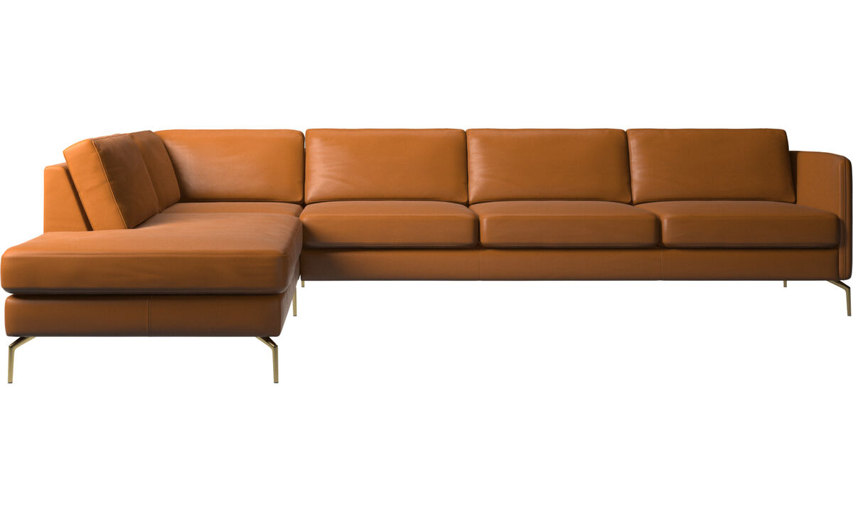 Sofas with open end - Osaka corner sofa with lounging unit, regular seat - Brown - Leather