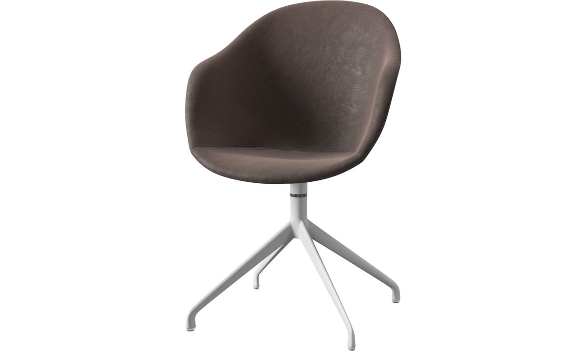 Dining chairs - Adelaide chair with swivel function - Brown - Leather