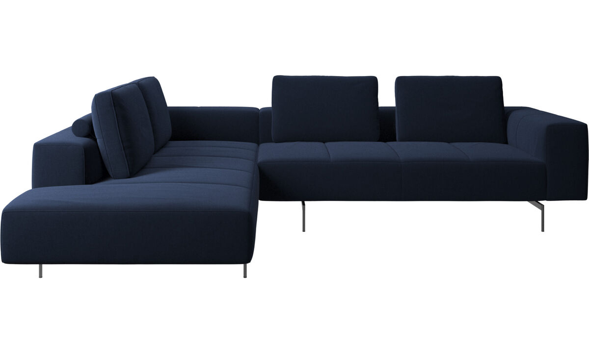 Modular sofas - Amsterdam corner sofa with lounging unit - Blue - Fabric