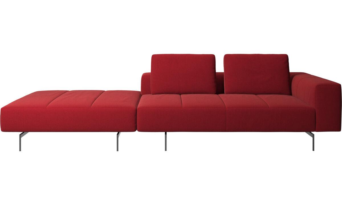 Sofás modulares - Sofá Amsterdam com puff do lado esquerdo - Vermelho - Tecido