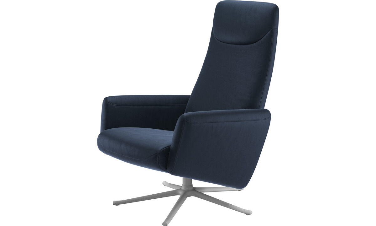 Recliners - Lucca recliner with swivel function - Blue - Leather