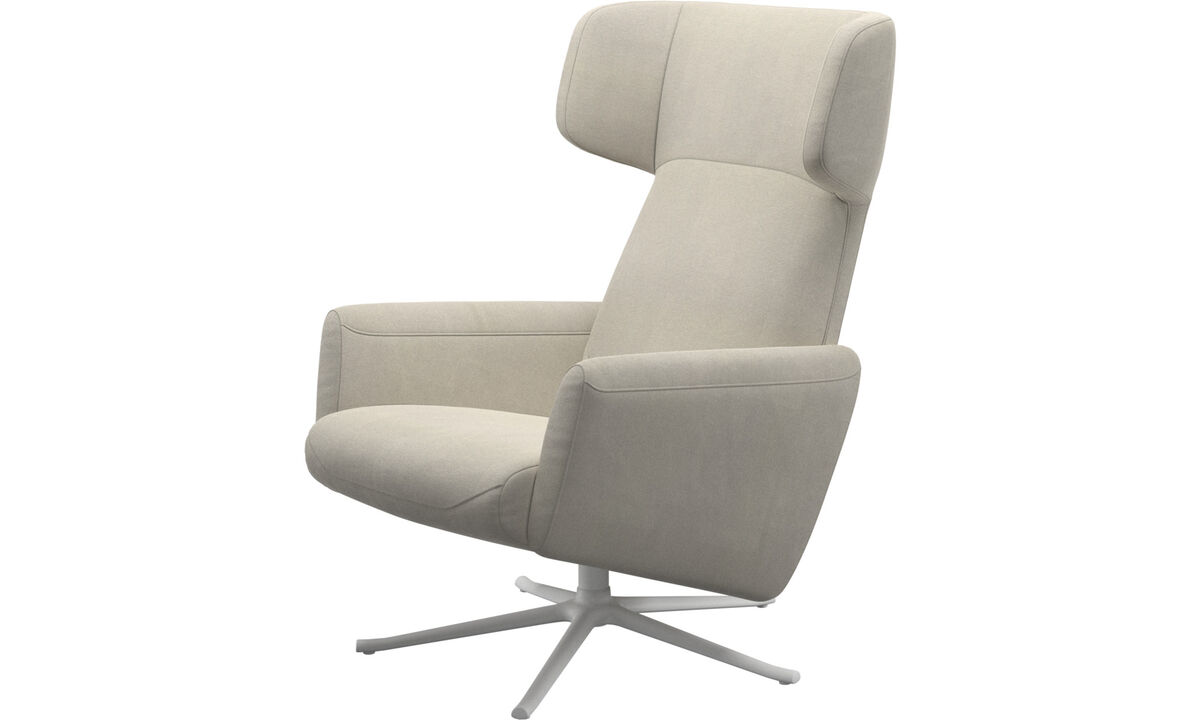 Armchairs - Lucca wing recliner with swivel function - White - Fabric