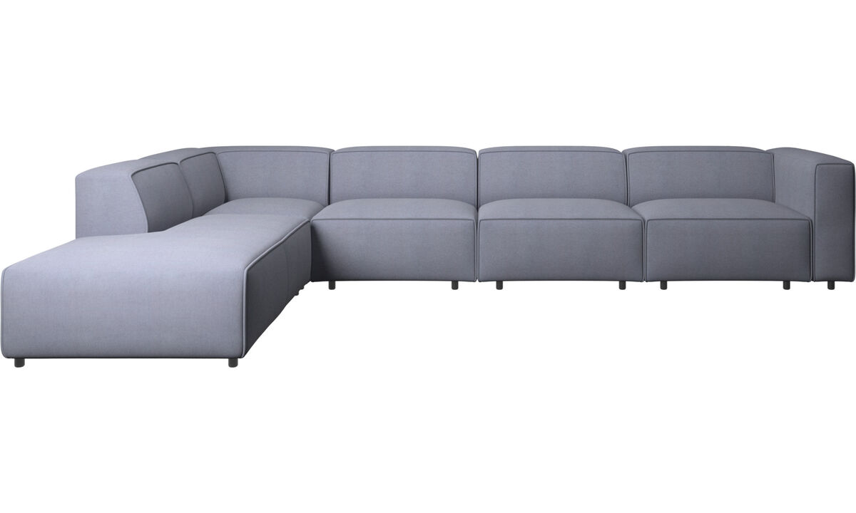 Sofas with open end - Carmo motion corner sofa - Blue - Fabric