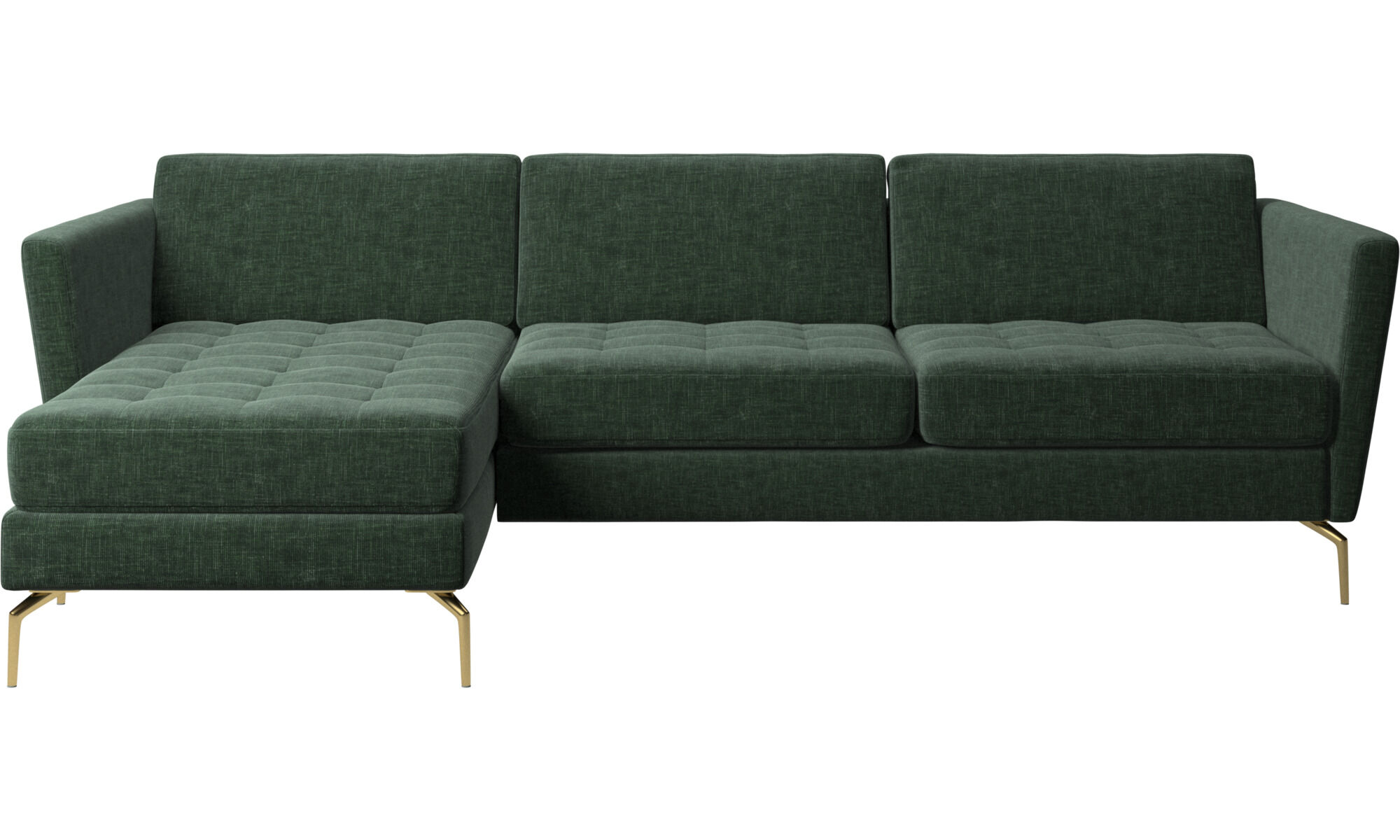 Chaise Lounge Sofas   Osaka Sofa With Resting Unit, Tufted Seat   Green    Fabric