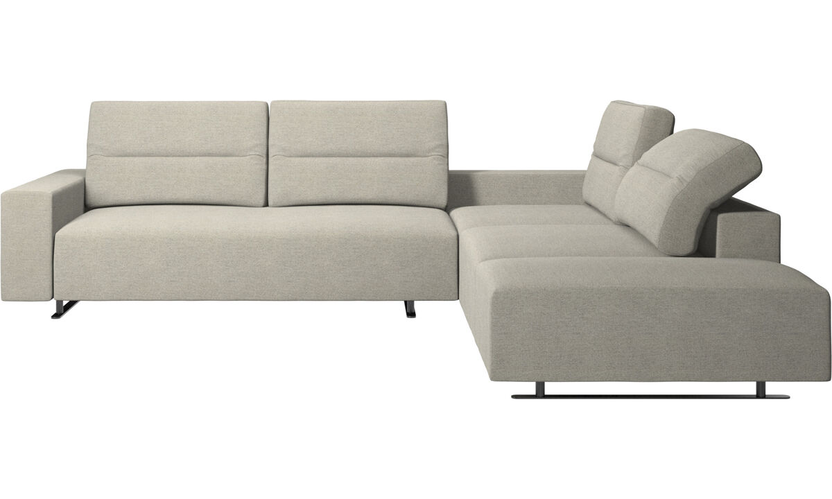 Угловые диваны - Угловой диван Hampton  с регулируемой спинкой и системой хранения с левой стороны - Бежевого цвета - Tкань
