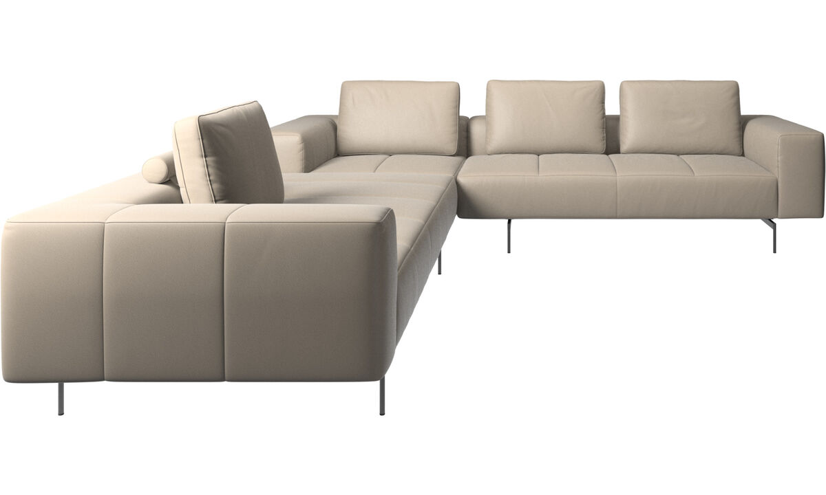 Corner sofas - Amsterdam corner sofa - Beige - Leather