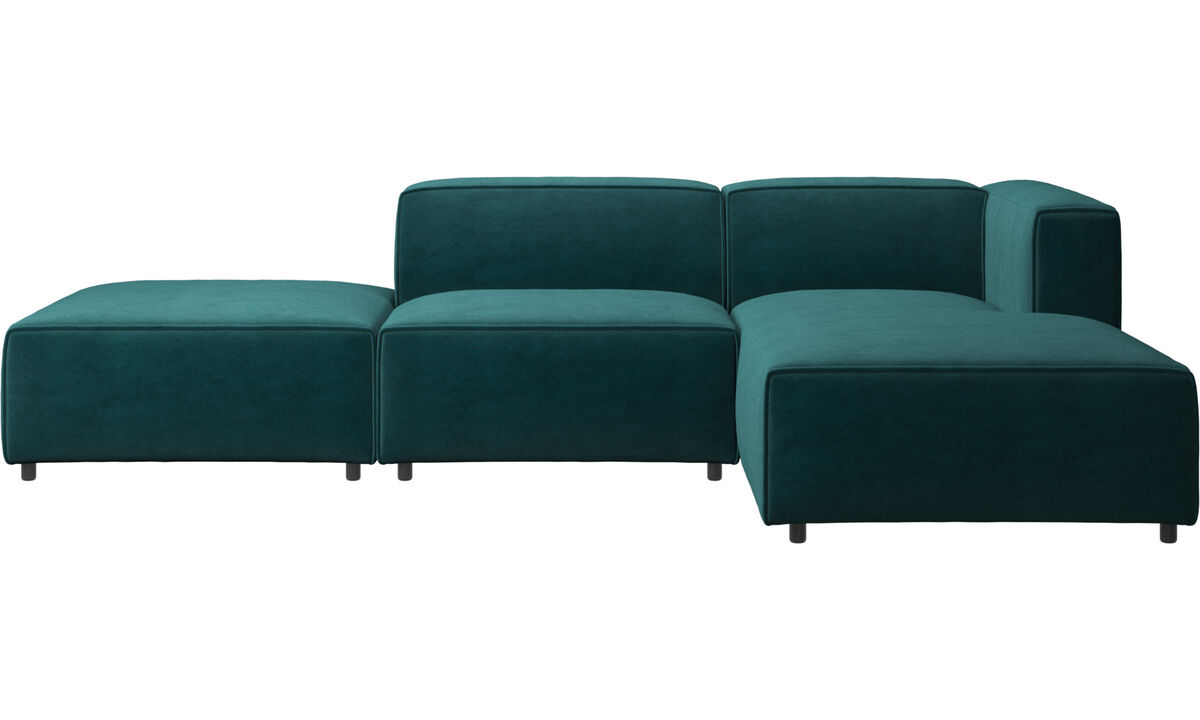 Chaise longue sofas - Carmo sofa with resting unit - Blue - Fabric