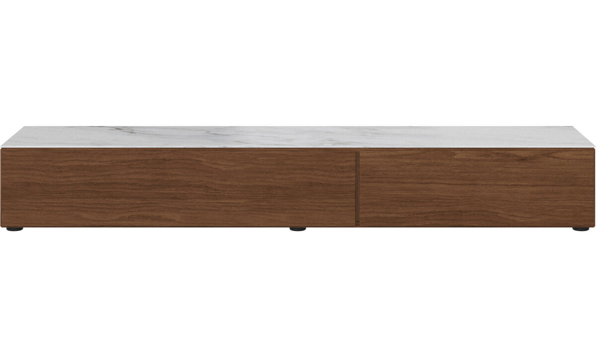 Tv units - Lugano base cabinet with drawer, drop down door and top plate - White - Walnut
