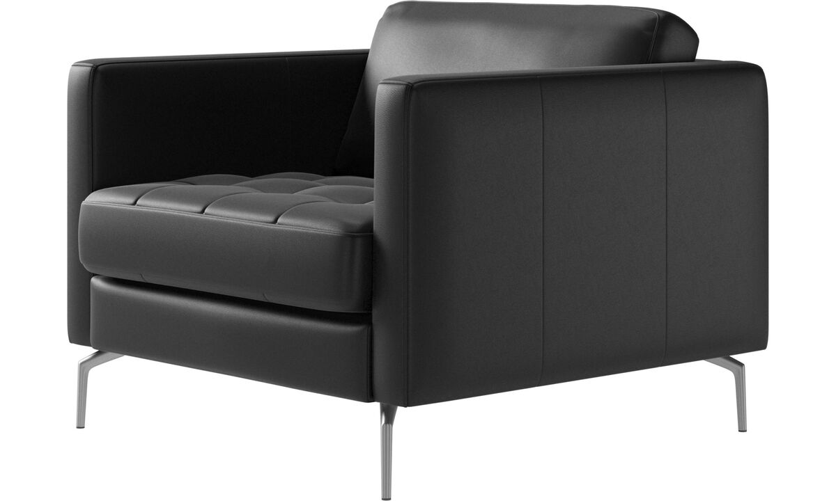 Armchairs and footstools - Osaka chair, tufted seat - Black - Leather