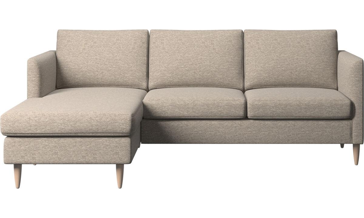 Chaise longue banken - Indivi zitbank met ligelement - Beige - Stof