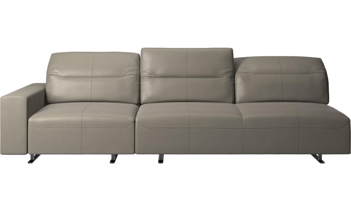 3 seater sofas - Hampton sofa with adjustable back - Grey - Leather
