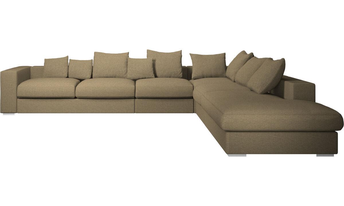 Corner sofas - Cenova corner sofa with lounging unit - Green - Fabric