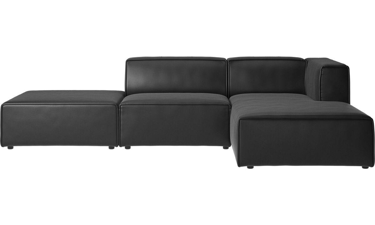 Sofás modulares - Sofá Carmo con módulo chaise-longue - En negro - Piel