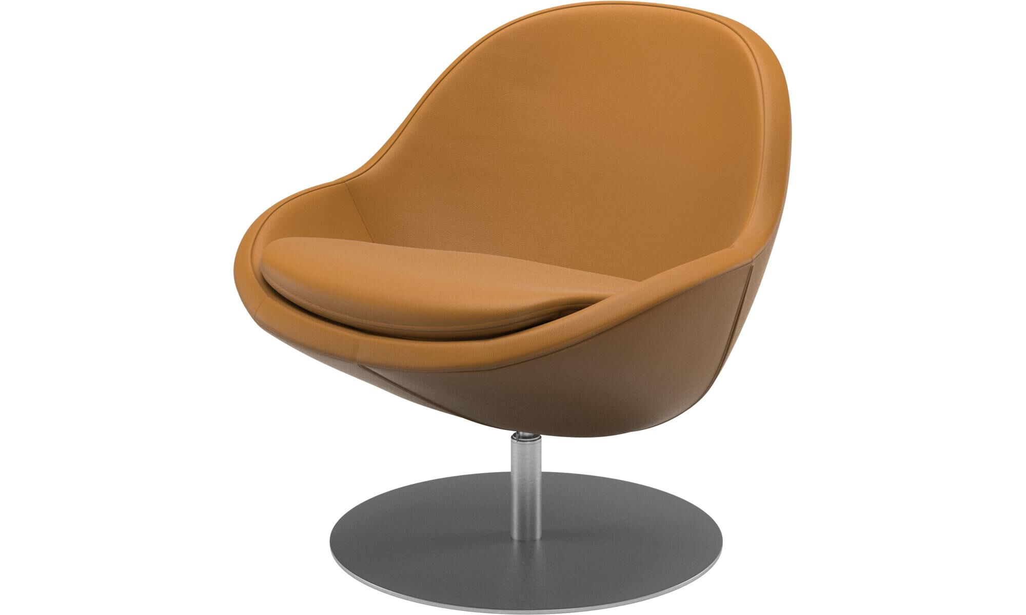 Armchairs   Veneto Chair With Swivel Function   Brown   Leather