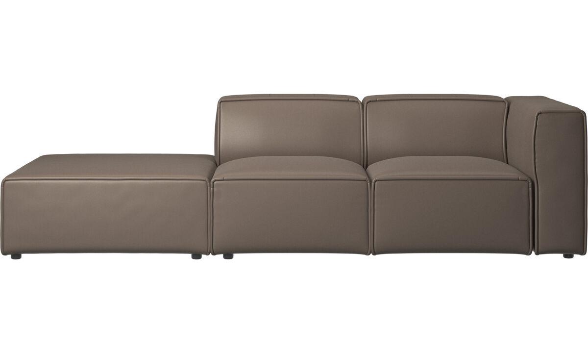 Sofás con lado abierto - Sofá Carmo con movimiento - En gris - Piel