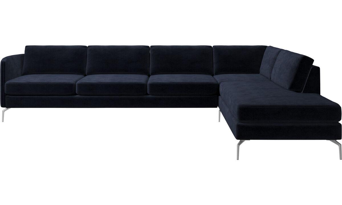 Lounge Suites - Osaka corner sofa with lounging unit, regular seat - Blue - Fabric