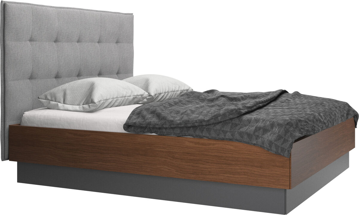 New beds - Lugano storage bed with lift-up frame and slats, excl. mattress - Grey - Fabric