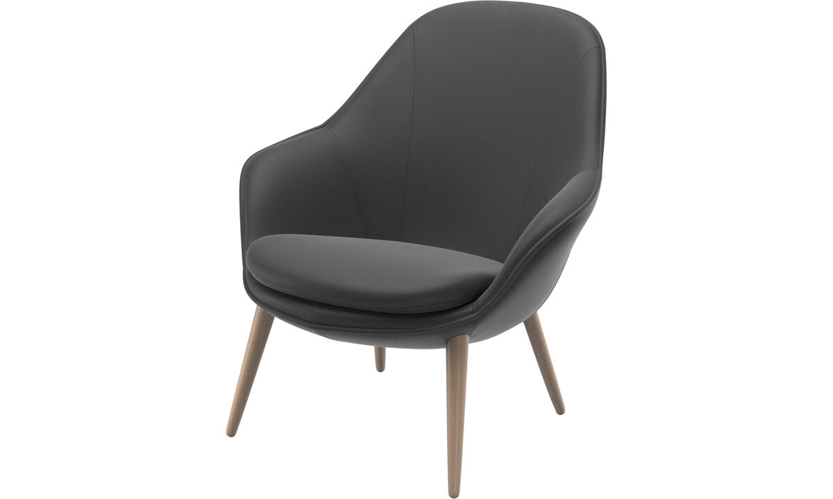 Adelaide living chair - Black - Leather