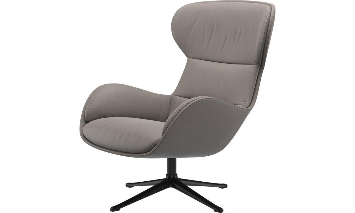 Fotele wypoczynkowe - Fotel Reno na obrotowej nodze - Beżowy - Skóra