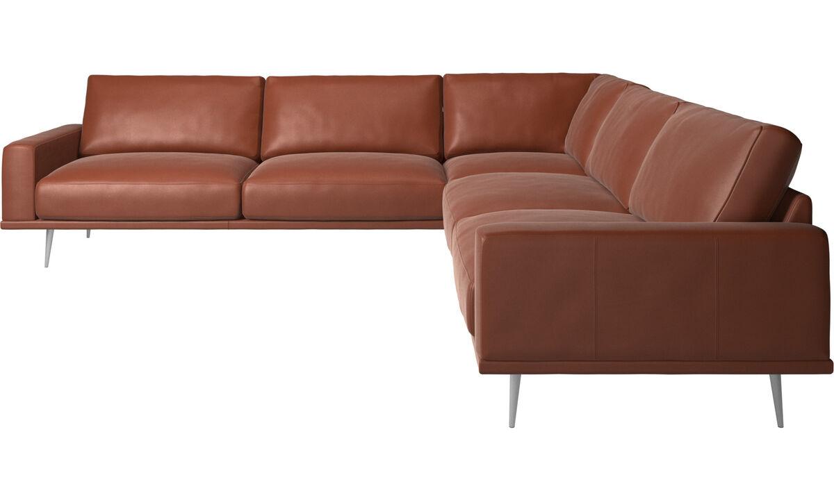 Corner sofas - Carlton corner sofa - Brown - Leather