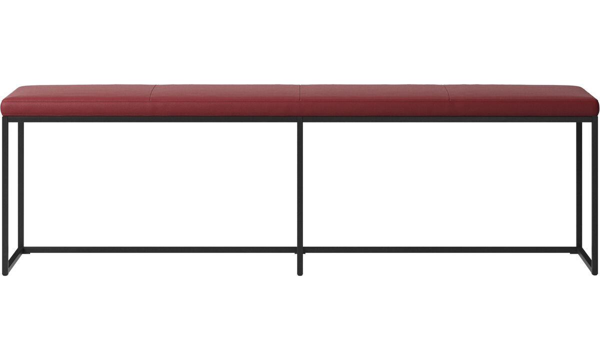 Benches - London large bench with cushion - Red - Leather