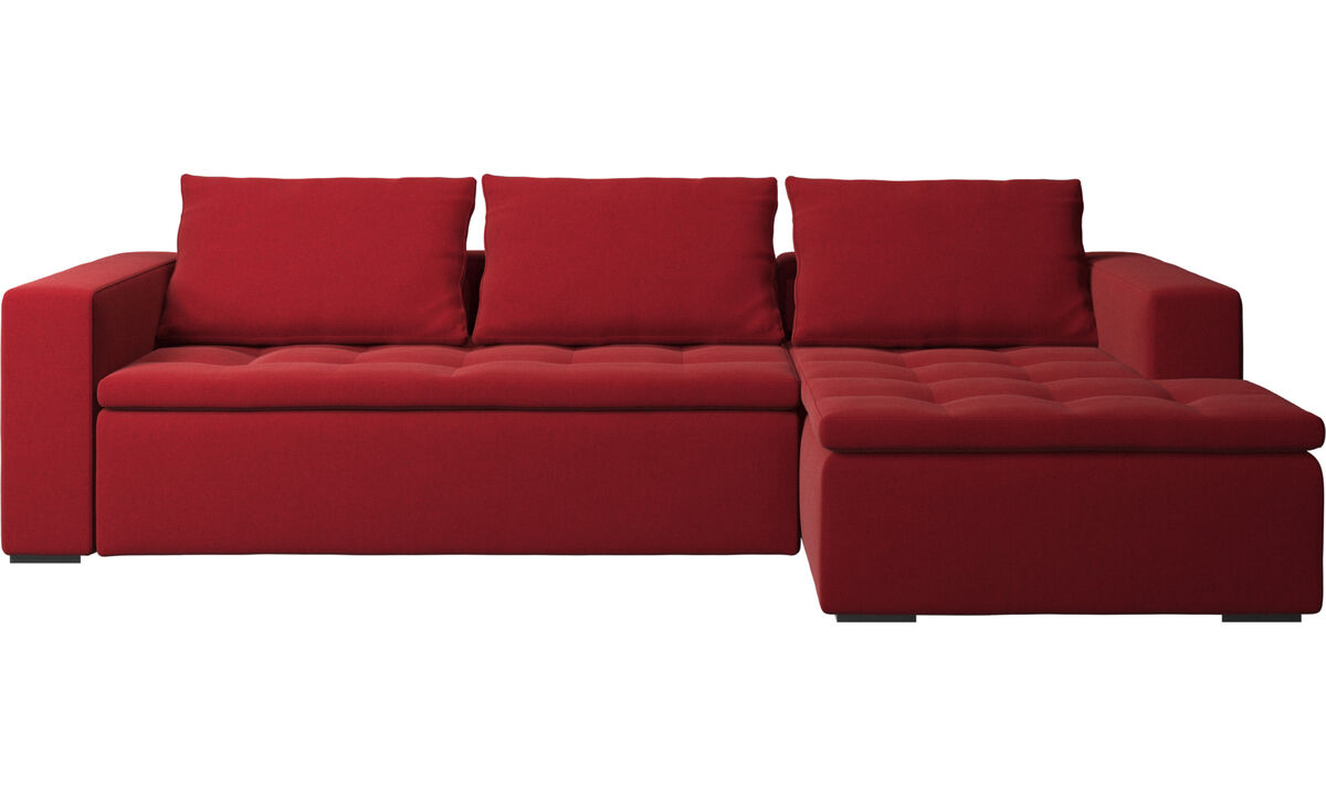 Sofás com chaise - Sofá Mezzo chaise-longue - Vermelho - Tecido