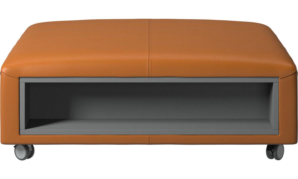 Pufs - Puf con ruedas Hampton con almacenamiento en lados derecho e izquierdo - En marrón - Piel