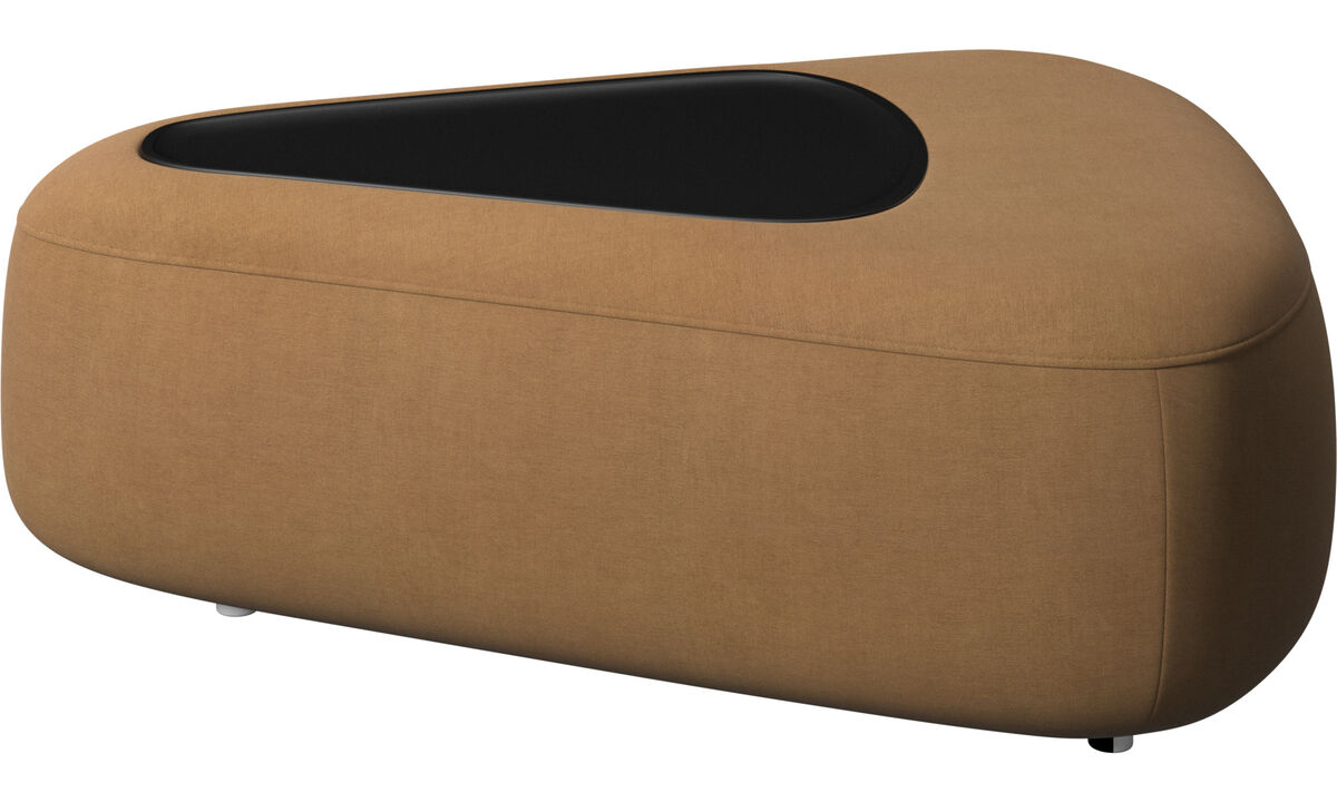 Footstools - Ottawa triangular pouf with tray with USB charger - Brown - Fabric