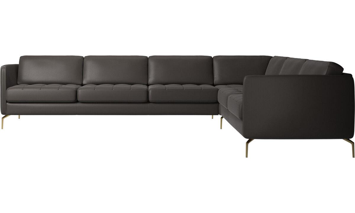 Corner sofas - Osaka corner sofa, tufted seat - Brown - Leather