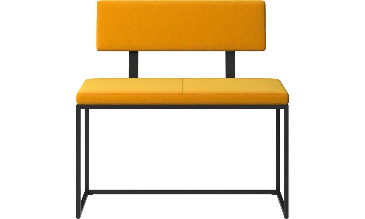 Benches - London small bench with cushion and backrest - Orange - Fabric