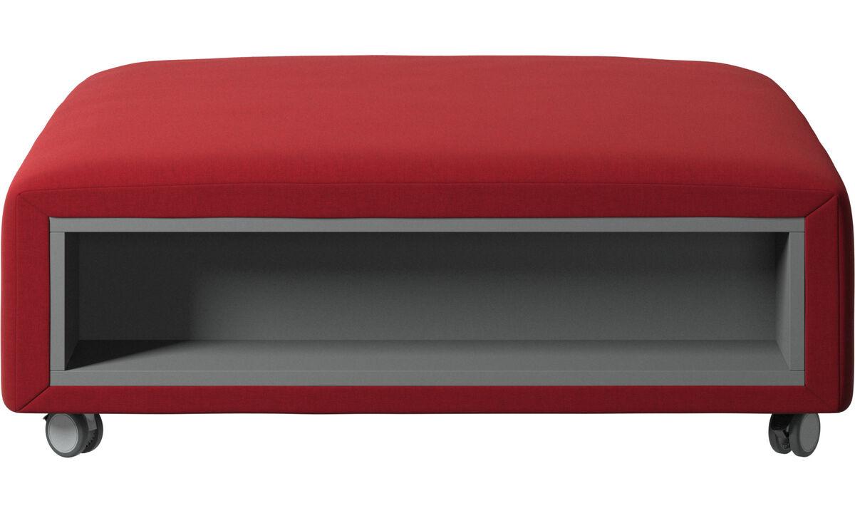 Apoio de pés - Puff Hampton com rodas e armazenamento nas laterais - Vermelho - Tecido