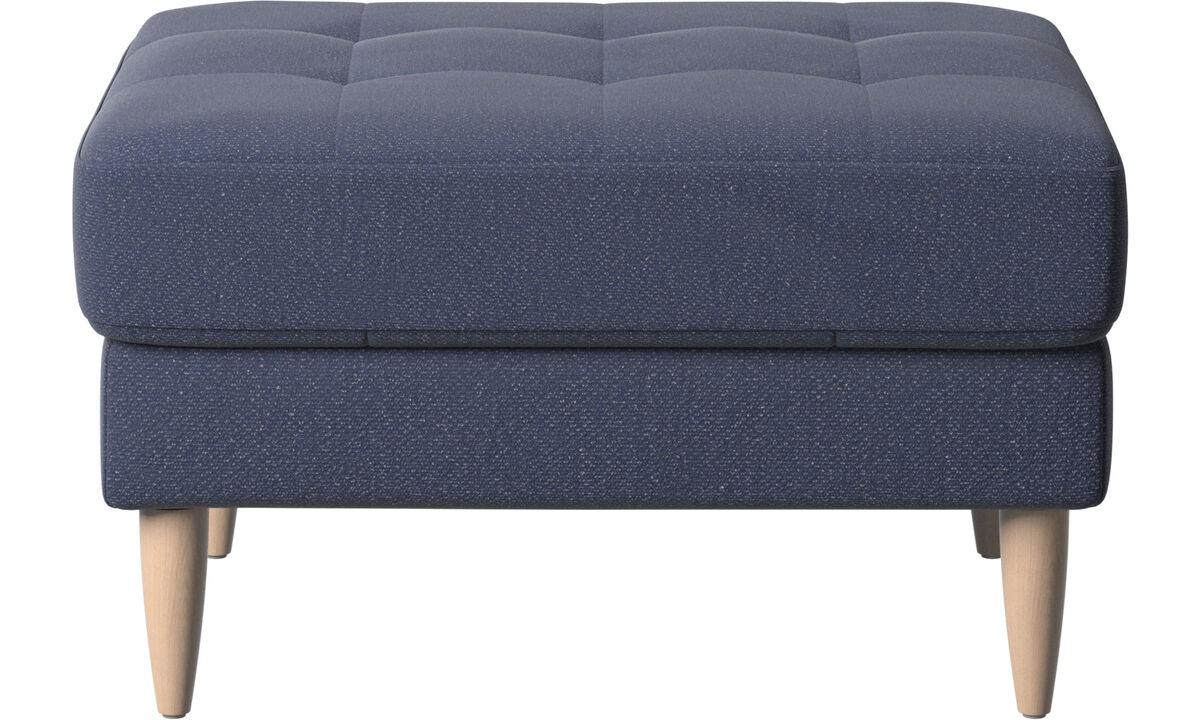 Apoio de pés - puff Osaka, assento tufado - Azul - Tecido