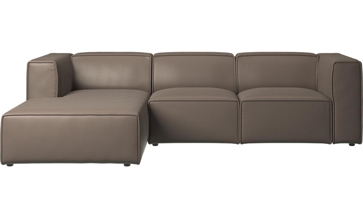 Sofás reclinables - Sofá Carmo con movimiento y módulo de descanso - En gris - Piel