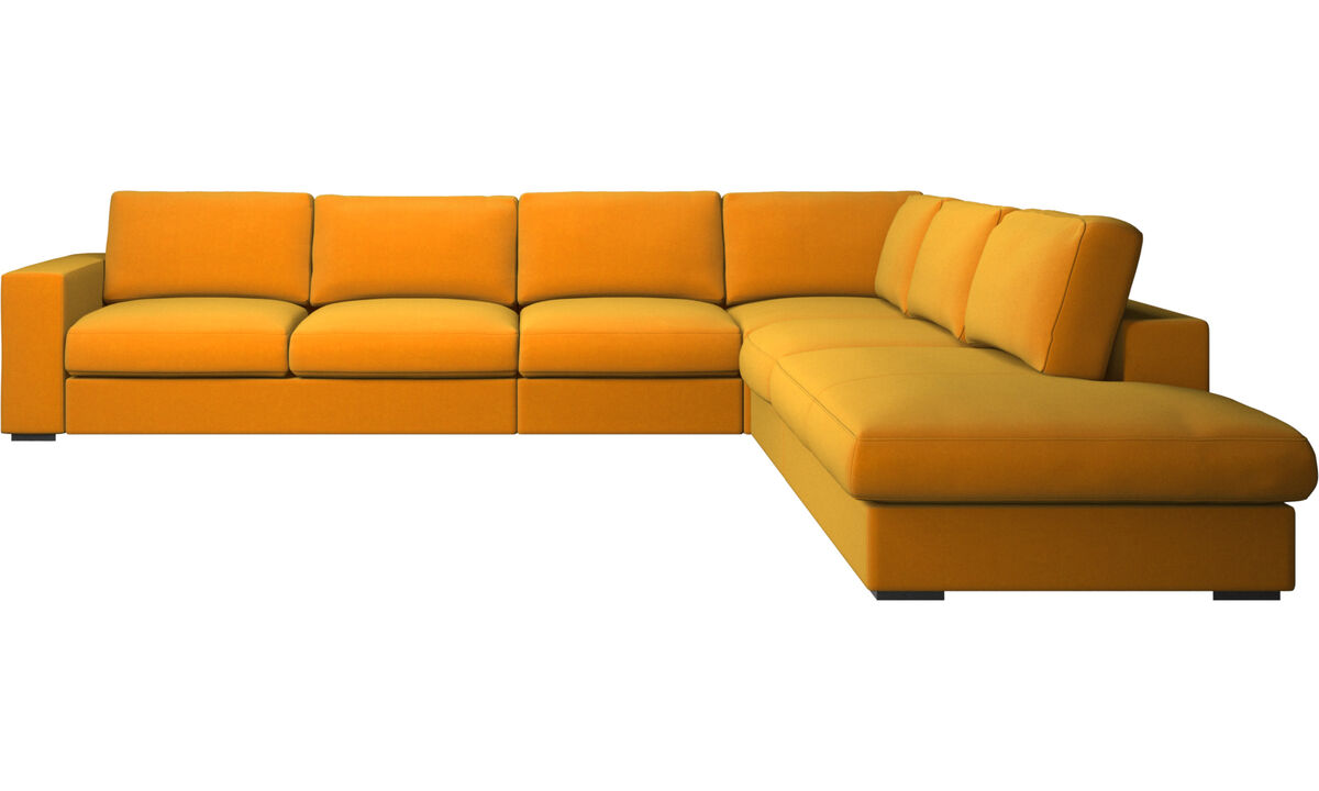 Sofas with open end - Cenova corner sofa with lounging unit - Orange - Fabric
