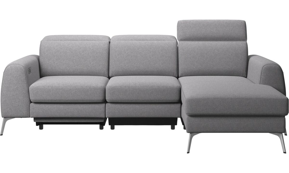 3 seater sofas - Madison sofa with resting unit, and electric seat, head, and foot rest motion (transformer and cable plug-in included) - Grey - Fabric