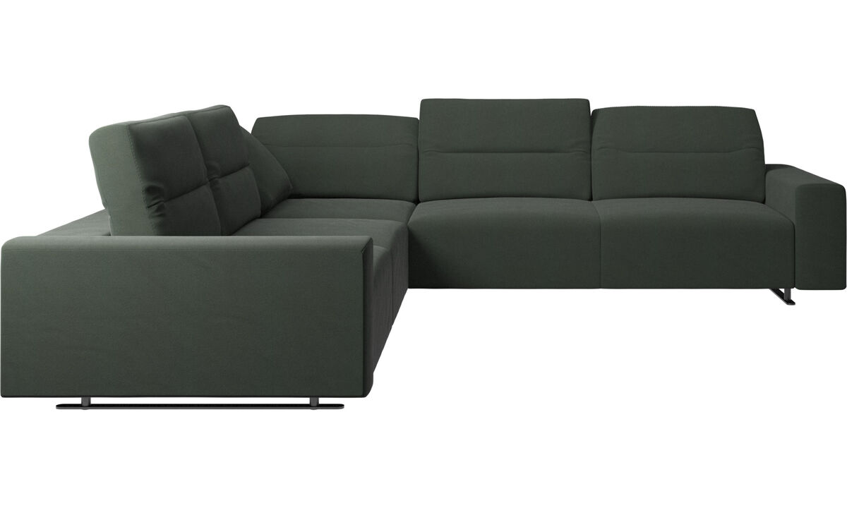 Corner sofas - Hampton corner sofa with adjustable back - Green - Fabric
