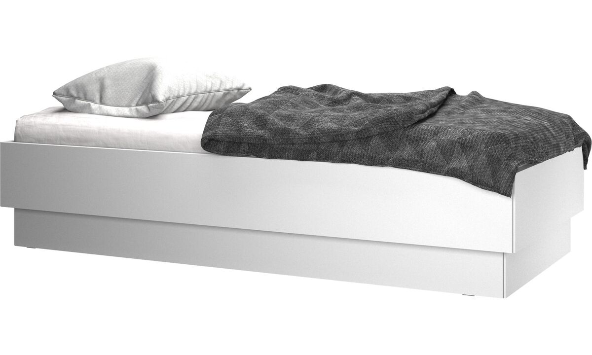 Beds - Lugano storage bed with lift-up frame and slats, excl. mattress - White - Lacquered