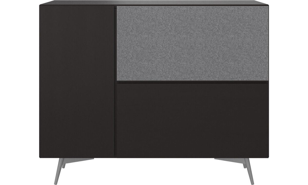 Sideboards - Lugano highboard with drop down doors - Black - Oak