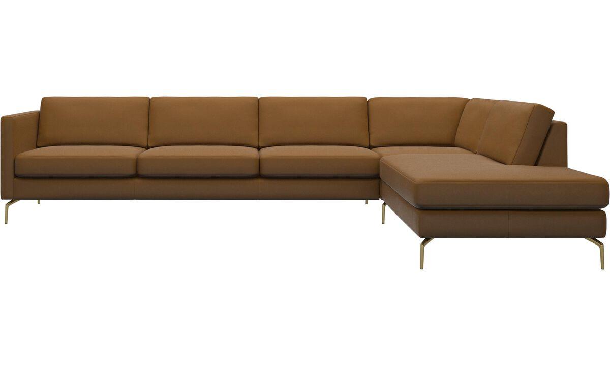 Sofás con lado abierto - sofá esquinero Osaka con módulo de descanso, asiento regular - En marrón - Piel
