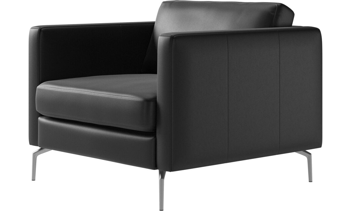 Armchairs - Osaka chair, regular seat - Black - Leather